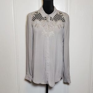 The Kooples Gray Embroidered Cutout Button Up